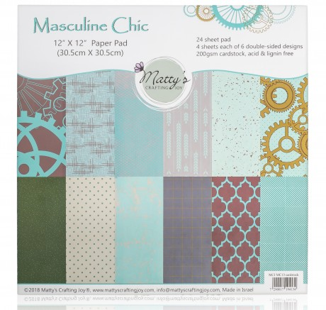 Masculine Chic Cardstock Paper Pad, Scrapbook Paper, 12x12, Scrapbooking, Matty's Crafting Joy