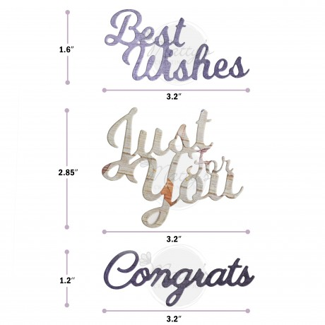 congratulations cutting dies, sentiment die, words dies, best wishes cutting die, just for you cutting die, congrats cutting die