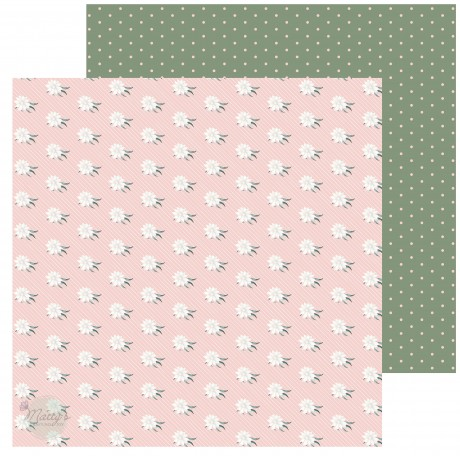 White and Green Floral Cardstock - 10 Pack